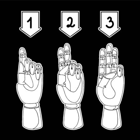 numbering: Hand drawn set of hands for infographics Illustration