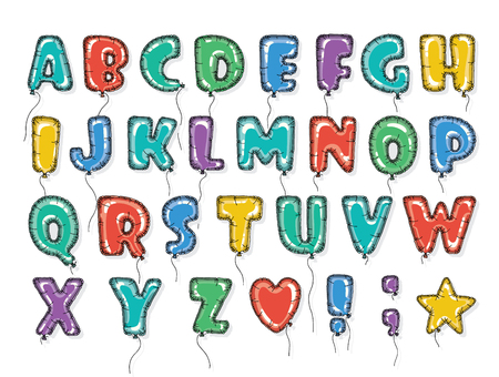 balloon: Hand drawn alphabet in the form of balloons. Easy editable vector file. Perfect letters design for festive posters and postcards or nterior decoration baby room.