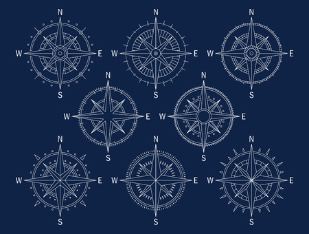 Vector image set of variations of the mark Wind Rose. Stock Illustratie