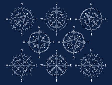 rosa vientos: Imagen del vector conjunto de variaciones de la marca Rosa de los Vientos.