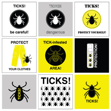 lyme disease: Set of vector icons with prevention about sticks.