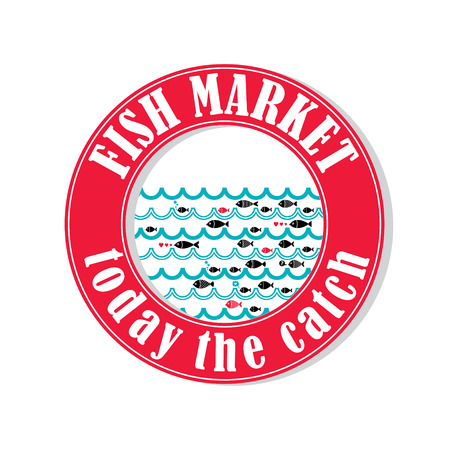 proper: Vector lable for local markets with fresh fish.