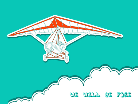glider: Vector illustraition of hand glider. Beautiful image for the promotion of wonderful sport.