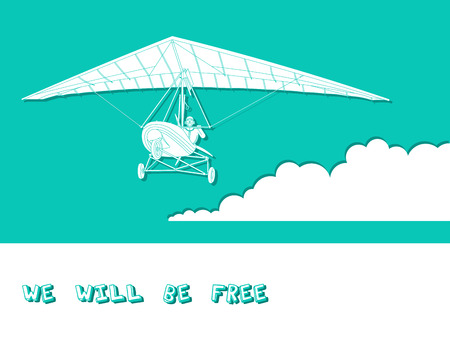 illustraition: Vector illustraition of hand glider. Beautiful image for the promotion of wonderful sport.