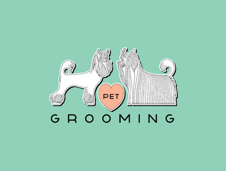 groomer: Version of the logo or advertisement for a hairdressers salon for pets. Vector, easy recolor.