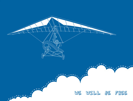 hang gliding: Vector illustraition of hand glider. Beautiful image for the promotion of wonderful sport.