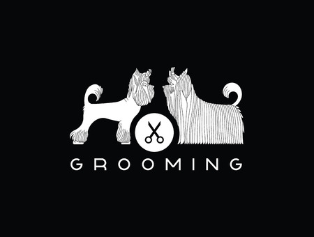 grooming: Version of the advertisement for a hairdressers salon for pets. Vector, easy recolor.
