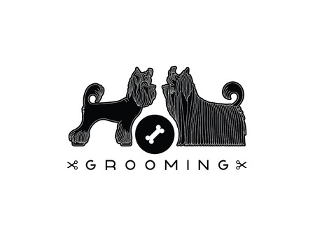 groomer: Version of the  advertisement for a hairdressers salon for pets. Vector, easy recolor. Illustration