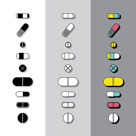 plain background: Pills icons on plain background with flat shadows.