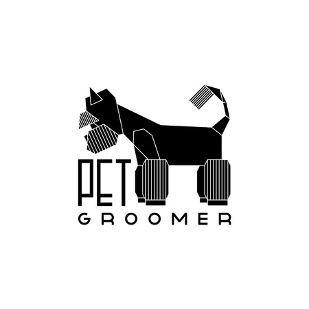 groomed: Version of the logo or advertisement for a hairdressers salon for pets. Vector, easy recolor.