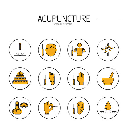 acupuntura china: Colecci�n de iconos del vector dedicada a la medicina tradicional china, la acupuntura. un m�todo de estimulaci�n de ciertos puntos en el cuerpo con agujas Vectores