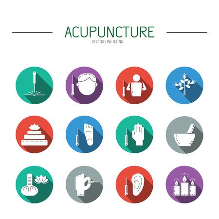 Colección de iconos del vector dedicada a la medicina tradicional china, la acupuntura. un método de estimulación de ciertos puntos en el cuerpo con agujas