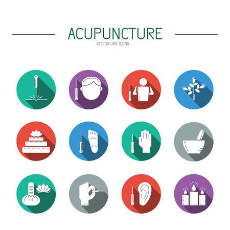 medicina natural: Colecci�n de iconos del vector dedicada a la medicina tradicional china, la acupuntura. un m�todo de estimulaci�n de ciertos puntos en el cuerpo con agujas Vectores