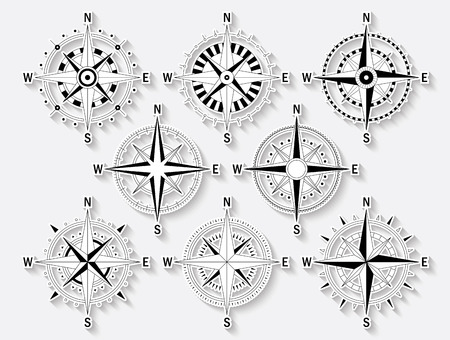 Vector image set of variations of the mark Wind Rose. 일러스트