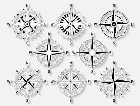 Vector image set of variations of the mark Wind Rose. Illustration