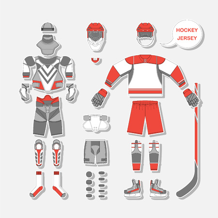 hockey stick: Full set of hockey uniform in vector. Easy recolor.