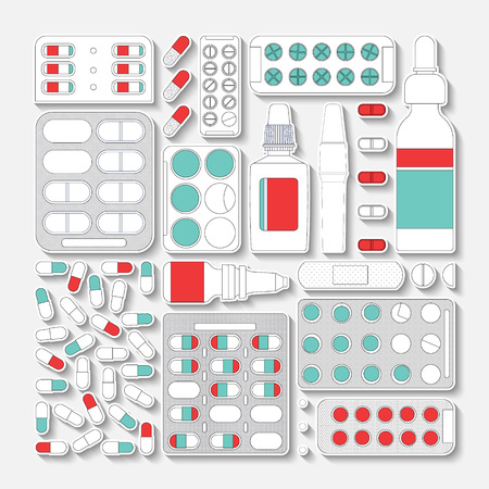 first aid kit: Set of medicines made in vector, easy recolor. Illustration