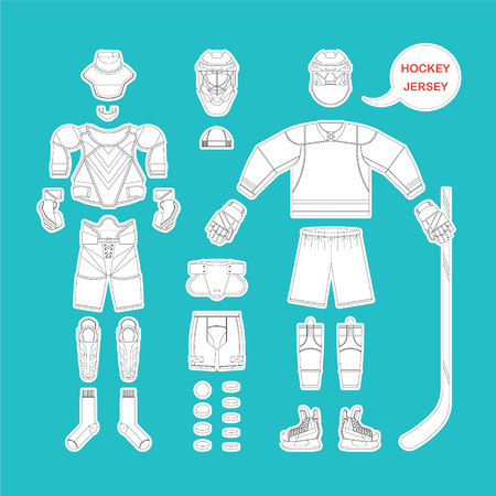 playoff: Full set of hockey uniform in vector. Easy recolor.