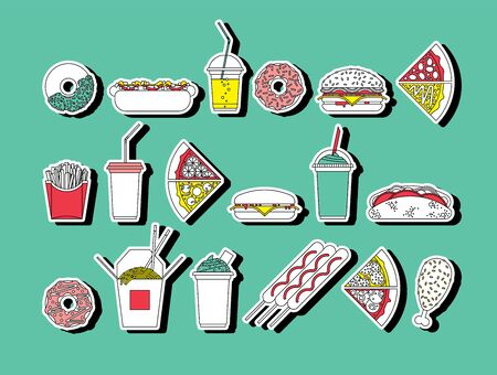 american food: Flat vector set of fast food. Easy recolor. Illustration