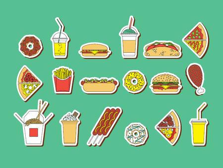 foodstuffs: Flat vector set of fast food. Easy recolor. Illustration