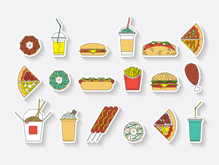 burger cartoon: Flat vector set of fast food. Easy recolor. Illustration