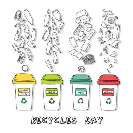 Sorting of garbage made in vector, easy editable. Illustration