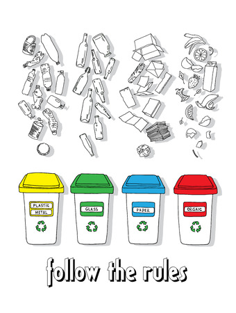 Sorting of garbage made in vector, easy editable. Stock Illustratie