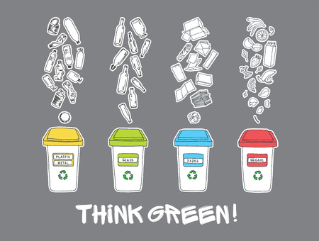 recycles: Sorting of garbage made in vector, easy editable. Illustration