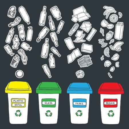 basura: Clasificación de la basura hecho en vector, fácil de editar.