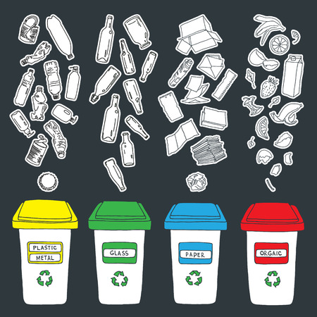 rinds: Sorting of garbage made in vector, easy editable. Illustration