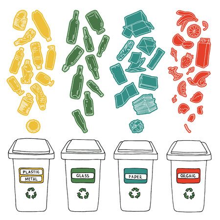 paper recycle: Sorting of garbage made in vector, easy editable. Illustration
