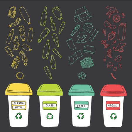 garbage: Sorting of garbage made in vector, easy editable. Illustration
