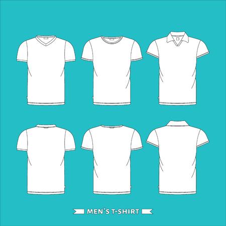 Herren T-Shirt, vorne und hinten, gebildet im Vektor, bearbeitbare einfach. Standard-Bild - 48021249