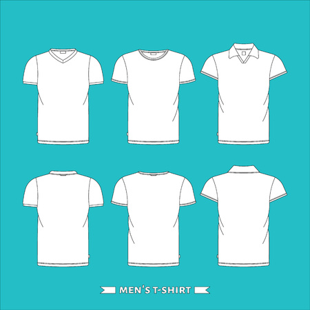 Mens t-shirt, front and back, made in vector, easy editable.