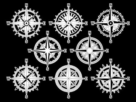 direction magnet: Vector image set of variations of the mark Wind Rose. Illustration