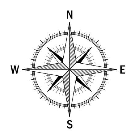 Vector image of the Wind Rose. Easy recolor. Ideal for drawings, maps , directions schemes.