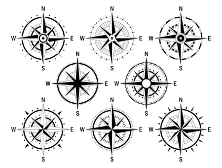 Vector image set of variations of the mark Wind Rose. Ilustrace