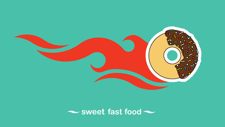 sinker: Flat vector poster of the most delicious varieties of fast food, donuts. Easy recolor, enjoy.