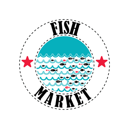 lable: Vector lable for local markets with fresh fish.