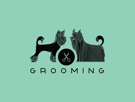 Version du ou de la publicité pour le salon de coiffure pour animaux de compagnie. Vector, recolorer facile.