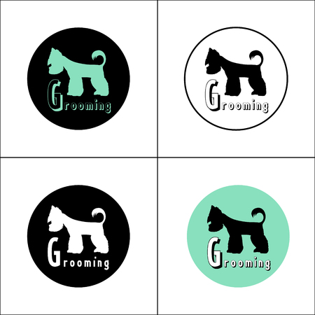 groomer: Version of the or advertisement for a hairdressers salon for pets. Vector, easy recolor. Illustration