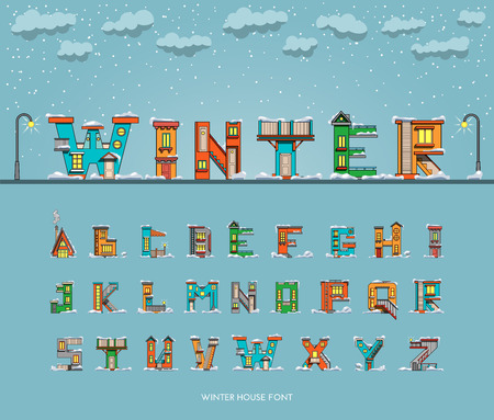alphabet letters: alphabet in the form of houses with winter surroundings, environment, font houses. Illustration
