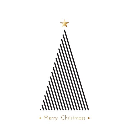 diferent: christmas tree in line art, diferent stile, for postcard, poster, gifts