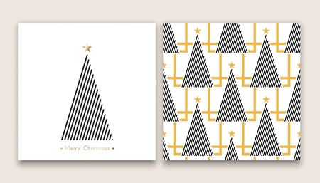 beauty of nature: christmas tree in line art and pattern, diferent stile, for postcard, poster, gifts