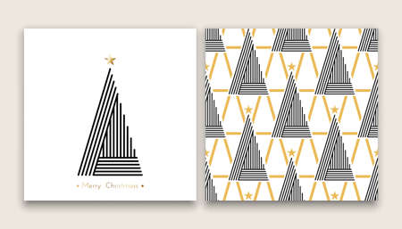 diferent: christmas tree in line art and pattern, diferent stile, for postcard, poster, gifts