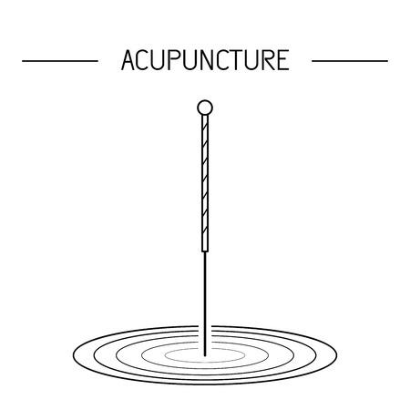 Vector dedicada a la medicina tradicional china, la acupuntura. un método de estimulación de ciertos puntos en el cuerpo con agujas