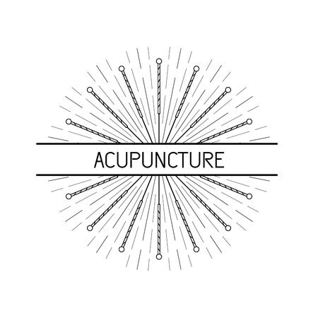 Vector dedicada a la medicina tradicional china, la acupuntura. un método de estimulación de ciertos puntos en el cuerpo con agujas Ilustración de vector