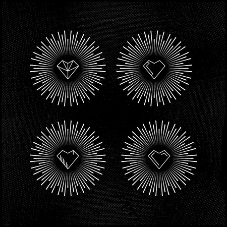 decorative items: Decorative items for Valentines Day, to design greeting cards, invitations, made in a linear style on dirty background Illustration