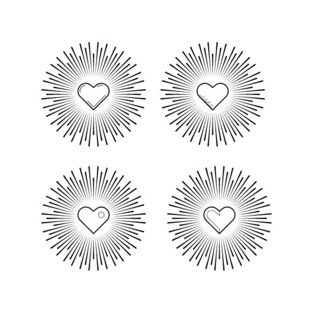 decorative items: Decorative items for Valentines Day, to design greeting cards, invitations, made in a linear Illustration