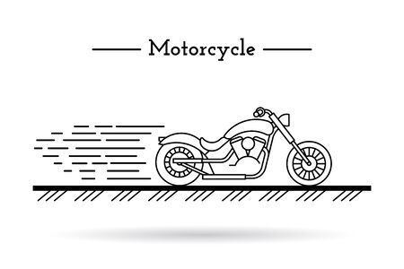 touring: classic motorcycle traveling on the highway at high speed in a flat style of painted lines